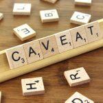 Caveat in scrabble letters