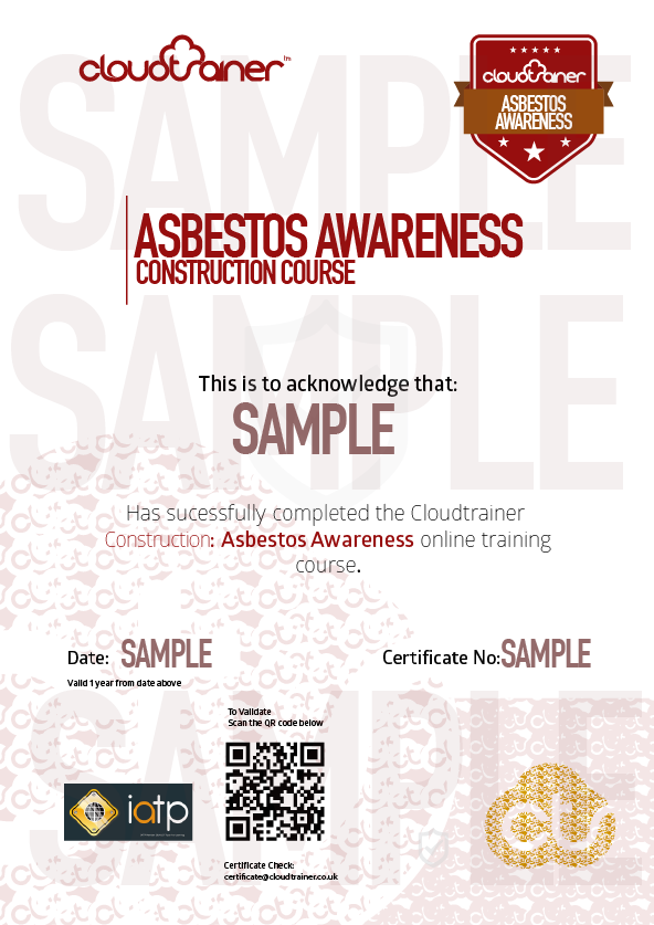 Sample Asbestos Awareness Training Certificate
