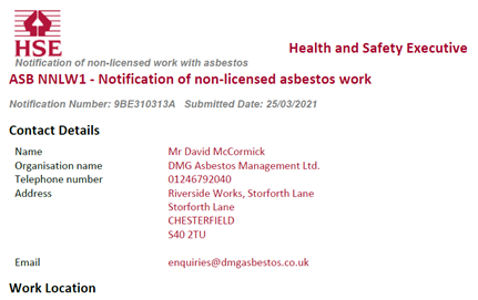 An image of an ASB NNLW1 Notification of non-licenses asbestos work