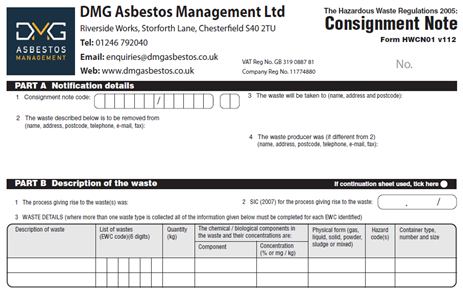 Image of form HWCN01 Consignment Note - Asbestos Removal