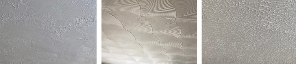Photos of Artex textured coatings containing asbestos applied to ceilings.